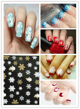 Snowflakes Snowman 3D Nail Art Stickers Decals Girl Fingernail Accessaries Art