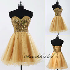 Fast Shipping Gold Prom Party Mini Dress Gowns Sequin Short Homecoming Dresses