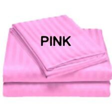 1000TC Baby Pink Stripe 1-Piece Bed Skirt 100% Cotton All Bed Sizes & Extra Drop