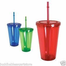 100% BPA FREE Double Wall Tumbler Cup Cups Cold Drink Water with Lid Straw 16 oz