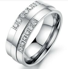 Lover Titanium Engagement Wedding Ring Set Shinning CZ stones Size J-T #T