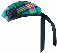Glengarry Wool Hat Commonwealth Games Tartan with Black Pompom Kilt Accessory