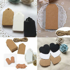 100pcs Kraft Paper Gift Tags Wedding Scallop Label Blank Luggage+Strings