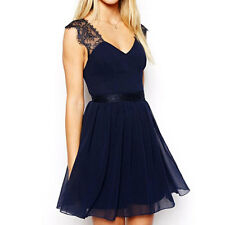 Blue Sexy Women's Backless V Neck Lace Chiffon Dress Party Evening Cocktail