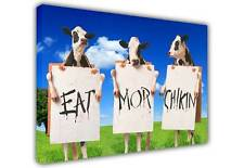 COWS EAT MORE CHICKEN SIGN QUOTE CANVAS WALL ART PICTURES PHOTO PRINTING PRINTS