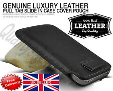 Black Genuine Real Leather Pull Tab Slide In Pouch Case Cover Sleeve pouch S4 5S