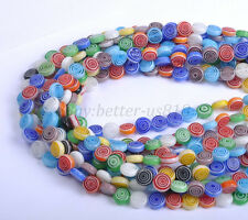Wholesale Mixed Flat Round MILLEFIORI Glass Loose Spacer BEADS 6MM 8MM 10MM 12MM