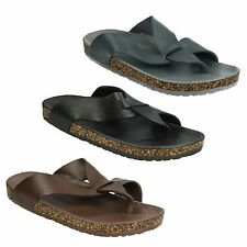 A0034 Mens Toepost Footbed Sandals with Cork Effect