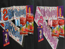 2ND YEAR GIRL/BOY BIRTHDAY PARTY PACK  Banner, Balloons, Ribbon,Candle, Badge