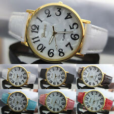 Mens Womens New Popular Geneva Shell Face Style Faux Leather Quartz Wrist Watch