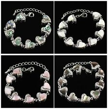 B5435 17x11x3mm Purfle shell heart-shaped in series bracelet 8pcs