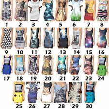 3D Graphic Casual Singlet Cami Vest Cute Long Top Summer Low Back Bodycon Dress