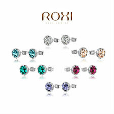 ROXI Brilliant Swarovski Crystal Round White Gold Cubic Zirconia Stud Earrings