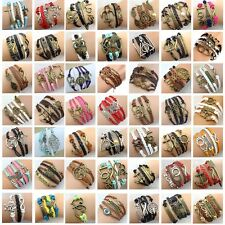 Fashion Jewelry Lots Style Leather Cute Infinity Charm Cuff Bangle Wrap Bracelet