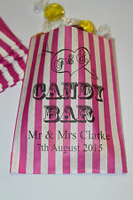 PERSONALISED Candy Bar ❤ Wedding Sweet Bags - Buffet Sweet Cart ❤ Pink Striped