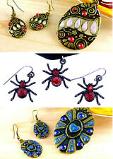 Vintage / punk style spider / enamel pendant necklace and earrings set, choices