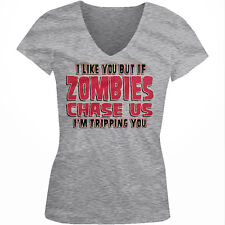 If Zombies Chase Us Im Tripping You Funny Walking Un-Dead Juniors V-neck T-shirt