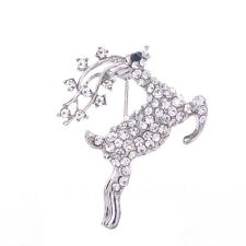 clear crystal Rhinestone Christmas Deer Pin Brooch prom silver gold tone W1