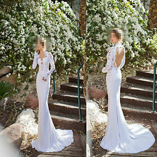 Wholesale Long Sleeves Backless Mermaid Lace Bridal Wedding Party Dresses/Gowns