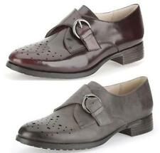 BUSBY JAZZ- LADIES CLARKS LEATHER BUCKLE STYLE PUNCHED DETAIL SMART MONK SHOES