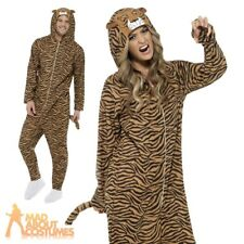 Adult Tiger Onesie Costume Zoo Unisex Cat Fancy Dress Outfit New