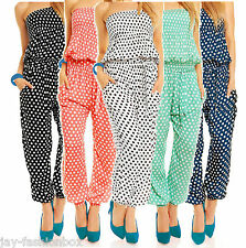 Polka Dots Overall Bandeau Jumpsuit Hosenanzug Sommer Overall mit Punkte 1-Size