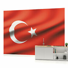 Waving Turkish Flag Photo Wallpaper Wall Mural (CN-489VE)