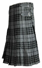 Hamilton Grey 8 Yard 16oz Traditional Mens Scottish Tartan Highland Kilt