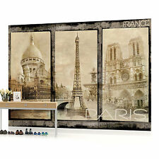Vintage Paris Illustration Triple Photo Wallpaper Wall Mural (CN-021P)
