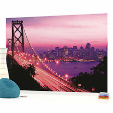 Pink Golden Gate Bridge San Francisco City Photo Wallpaper Wall Mural (CN-417P)