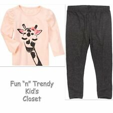 NWT Crazy 8 MOD GIRAFFE Girls Size 4 4T 5 5T Leggings Tee Shirt Top OUTFIT SET