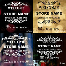Customized Personalized Name Opening Hours Wall Stickers Shop Front Window Decor