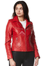RIDER Ladies Red WASHED Biker Motorcycle Style Soft Real Nappa Leather Jacket