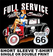 USA ROUTE 66 SERVICE WITH SMILE GIRL HOT STREET RAT ROD COUPE SKULL T-SHIRT X88
