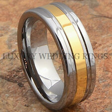 8mm Tungsten Ring 14K Gold Tone Wedding Band Mens Bridal Jewelry Size 6-13