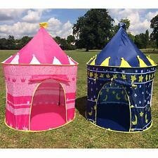 CHILDRENS KIDS POP UP PLAY TENT CASTLE PINK BLUE PLAYHOUSE OUTDOOR AND INDOOR