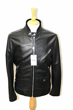 MOSCHINO 30 YEARS ANNIVERSARY metal plaque LOGO nappa leather biker jacket