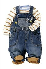 NEXT BOYS DENIM DOG SHORT/LONG DUNGEREES&MUSTARD/WHITE STRIPE BODYSUIT OUTFIT