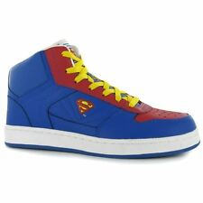 Superman Mens Trainers Sports Shoes Footwear Hi Top Lace Up Herringbone Pattern