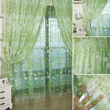 3 Colors Floral Tulle Voile Door Window Curtain Drape Panel Sheer Scarf Valances