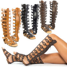 Open Toe Cage Strappy Gladiator Over The Knee Thigh High Flat Sandal Shoe US5-11