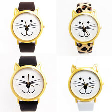 Fashion Women And Mens Lovely Cats Face Faux Leather Quartz Watch Lucky