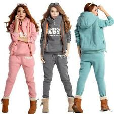 Women Autumn Winter Warm 3Pcs Coat+Vest+Pants Casual Suit Tracksuit Hooded Sport