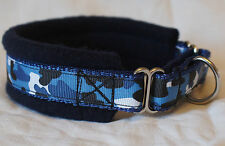 FLEECE LINED MARTINGALE DOG COLLAR BLUE CAMO NEW VARIOUS SIZES