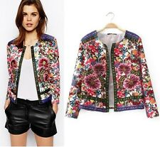 Women Autumn Embroidery Outerwear Cardigans Flower Print Short Jackets Coat Tops