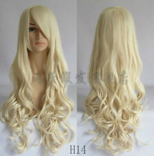 80CM Heat Resistant Long Curly Cosplay Wavy Wig 9 colors + Earring gift