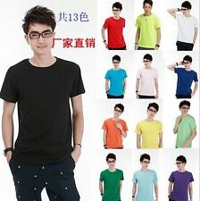 Cotton Men 13 Colors 6 Size Solid basic Short sleeve casual Tops tee T-Shirt