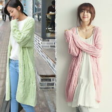 Winter womens Cable Knit long cardigan sweater coat loose plus size tide