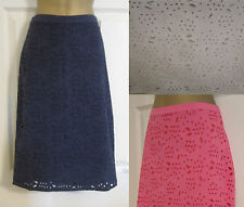 NEW EX BODEN NAVY WHITE PINK FLORAL BRODERIE ANGLAISE COTTON SUMMER SKIRT 6-22