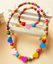 Colorful Wooden Bead Set Necklace & Bracelet Kids Girls Toy Party Gift